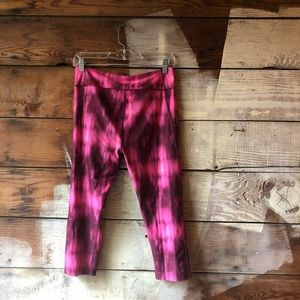 Under Armour Pants - Under Armour Medium Cropped Pink Tie-Dye Leggings